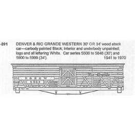 CDS DRY TRANSFER S-201  DENVER & RIO GRANDE 30'/ 34' STOCKCAR