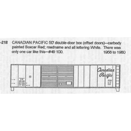 CDS DRY TRANSFER O-218 CANADIAN PACIFIC 50' DOUBLE DOOR BOXCAR