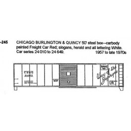 CDS DRY TRANSFER S-245  CHICAGO BURLINGTON & QUINCY 50' BOXCAR