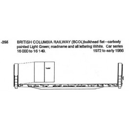 CDS DRY TRANSFER O-255 BRITISH COLUMBIA RAILWAY BULKHEAD FLAT CAR