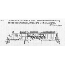 CDS DRY TRANSFER N-263  DENVER & RIO GRANDE DIESEL ROADSWITCHER - N SCALE