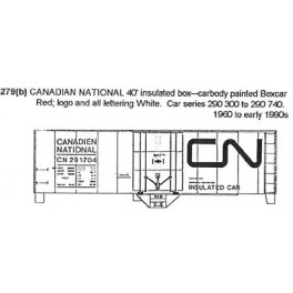 CDS DRY TRANSFER S-279 CANADIAN NATIONAL 40' INSULATED BOXCAR - S SCALE