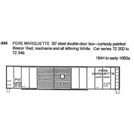 CDS DRY TRANSFER HO-546  PERE MARQUETTE 50' DOUBLE DOOR BOXCAR