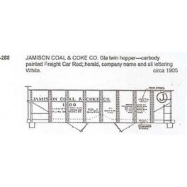 CDS DRY TRANSFER N-288  JAMISON COAL 2 BAY HOPPER - N SCALE