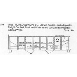 CDS DRY TRANSFER G-289  WESTMORELAND COAL 2 BAY HOPPER - G SCALE