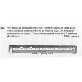 CDS DRY TRANSFER G-292  VIA RAIL PASSENGER CAR - G SCALE