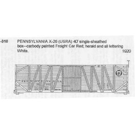 CDS DRY TRANSFER N-310  PENNSYLVANIA X26 40' BOXCAR - N SCALE