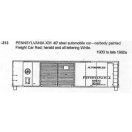 CDS DRY TRANSFER N-313  PENNSYLVANIA X31 40' DOUBLE DOOR BOXCAR - N SCALE