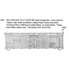 CDS DRY TRANSFER G-316  RIO GRANDE SOUTHERN 30' WOOD REEFER