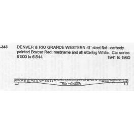 CDS DRY TRANSFER S-343  DENVER & RIO GRANDE 41'  STEEL FLATCAR