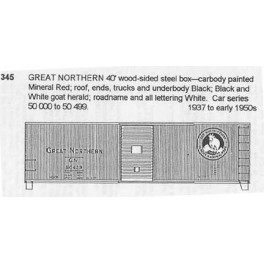 CDS DRY TRANSFER N-345  GREAT NORTHERN 40' BOXCAR - N SCALE