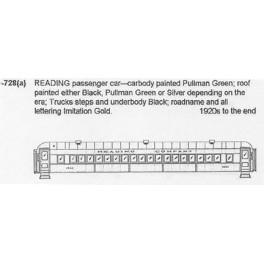 CDS DRY TRANSFER HO-728  READING PASSENGER CAR
