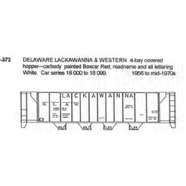 CDS DRY TRANSFER S-372  DELAWARE LACKAWANNA & WESTERN 4 BAY COVERED HOPPER - S SCALE