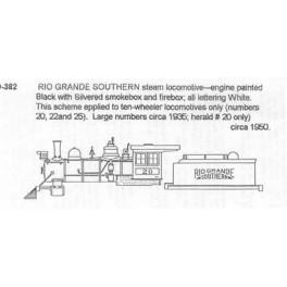CDS DRY TRANSFER S-382  RIO GRANDE SOUTHERN STEAM LOCOMOTIVE
