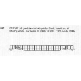 CDS DRY TRANSFER N-385  ERIE 65' MILL GONDOLA - N SCALE