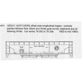 CDS DRY TRANSFER N-411  GREAT NORTHERN LONGITUDINAL HOPPER - N SCALE