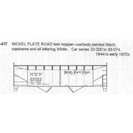 CDS DRY TRANSFER N-417  NICKEL PLATE ROAD 2 BAY HOPPER - N SCALE