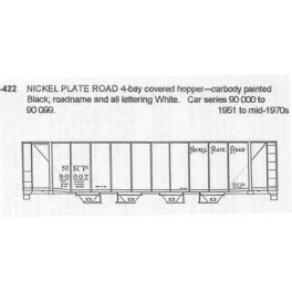 CDS DRY TRANSFER N-422  NICKEL PLATE ROAD 4 BAY COVERED HOPPER - N SCALE