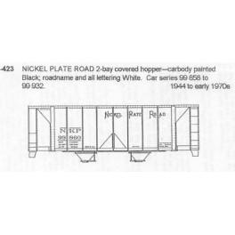 CDS DRY TRANSFER N-423  NICKEL PLATE ROAD 2 BAY COVERED HOPPER