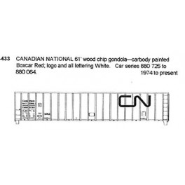 CDS DRY TRANSFER S-433 CANADIAN NATIONAL 61' WOODCHIP CAR - S SCALE
