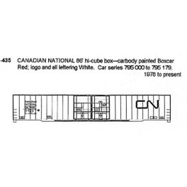 CDS DRY TRANSFER N-435 CANADIAN NATIONAL 86' BOXCAR - N SCALE
