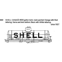 CDS DRY TRANSFER N-442  SHELL CANADA TANK CAR - N SCALE
