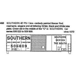 CDS DRY TRANSFER S-450  SOUTHERN RAILWAY 40' BOXCAR