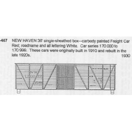 CDS DRY TRANSFER O-467  NEW HAVEN 36' BOXCAR - O SCALE