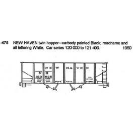 CDS DRY TRANSFER N-475  NEW HAVEN 2 BAY HOPPER - N SCALE