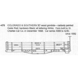 CDS DRY TRANSFER G-478  COLORADO & SOUTHERN 30' WOOD GONDOLA