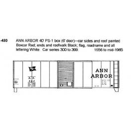 CDS DRY TRANSFER N-480 ANN ARBOR 40' BOXCAR - N SCALE