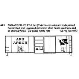CDS DRY TRANSFER N-481 ANN ARBOR 40' BOXCAR - N SCALE