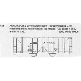 CDS DRY TRANSFER N-484 ANN ARBOR 2 BAY COVERED HOPPER - N SCALE