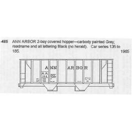 CDS DRY TRANSFER N-485 ANN ARBOR 2 BAY COVERED HOPPER - N SCALE