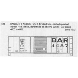 CDS DRY TRANSFER N-493 BANGOR & AROOSTOOK 40' BOXCAR - N SCALE