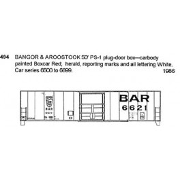 CDS DRY TRANSFER G-494 BANGOR & AROOSTOOK 50' BOXCAR - G SCALE