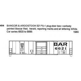 CDS DRY TRANSFER N-494 BANGOR & AROOSTOOK 50' BOXCAR