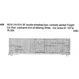 CDS DRY TRANSFER S-496  NEW HAVEN 36' BOXCAR - S SCALE