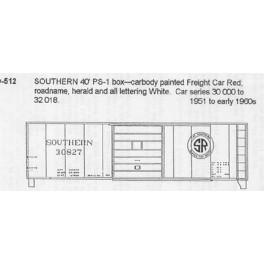 CDS DRY TRANSFER N-512  SOUTHERN RAILWAY 40' BOXCAR - N SCALE