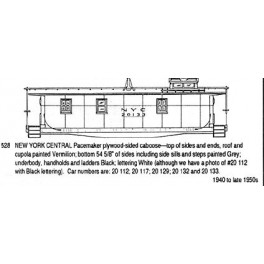CDS DRY TRANSFER N-528  NEW YORK CENTRAL PACEMAKER CABOOSE - N SCALE