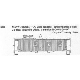 CDS DRY TRANSFER N-530  NEW YORK CENTRAL WOOD CABOOSE - N SCALE