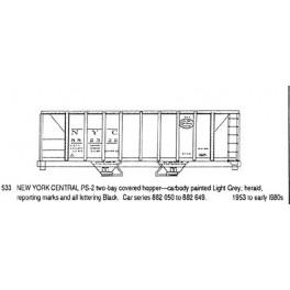 CDS DRY TRANSFER N-533  NEW YORK CENTRAL 2 BAY COVERED HOPPER - N SCALE