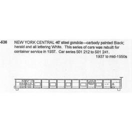 CDS DRY TRANSFER N-536  NEW YORK CENTRAL 46' GONDOLA - N SCALE