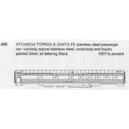 CDS DRY TRANSFER N-550 SANTA FE PASSENGER CAR - N SCALE