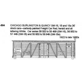 CDS DRY TRANSFER N-554  CHICAGO BURLINGTON & QUINCY 36' STOCK CAR - N SCALE