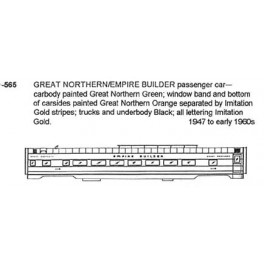 CDS DRY TRANSFER N-565  GREAT NORTHERN EMPIRE BUILDER PASSENGER CAR