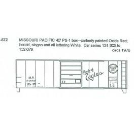 CDS DRY TRANSFER O-572  MISSOURI PACIFIC 40' BOXCAR - O SCALE