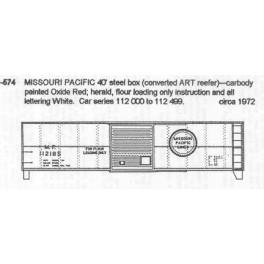 CDS DRY TRANSFER N-574  MISSOURI PACIFIC 40' BOXCAR - N SCALE