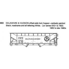 CDS DRY TRANSFER N-592  DELAWARE & HUDSON 2 BAY HOPPER - N SCALE