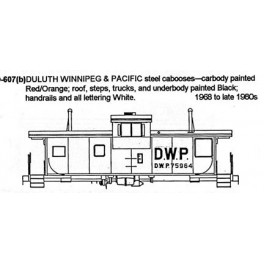 CDS DRY TRANSFER N-607  DULUTH WINNIPEG & PACIFIC CABOOSE - N SCALE